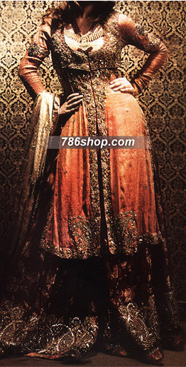 Beige Jamawar Sharara | Pakistani Wedding Dresses in USA
