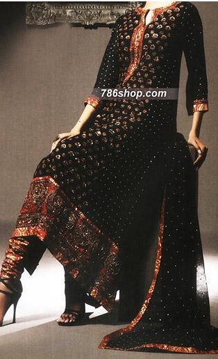 Black Chiffon Jamawar Suit   Pakistani Party and Designer Dresses