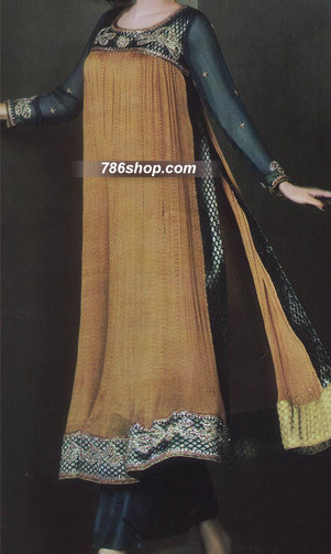 Golden/Bottle Green Crinkle Chiffon Suit | Pakistani Party and Designer Dresses in USA