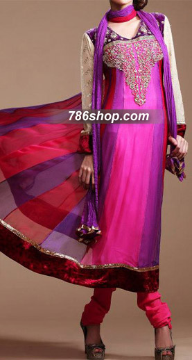 Hot Pink/Purple Chiffon Suit  | Pakistani Party and Designer Dresses in USA