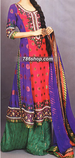 Purple/Hot Pink Crinkle Chiffon Suit | Pakistani Party and Designer Dresses in USA