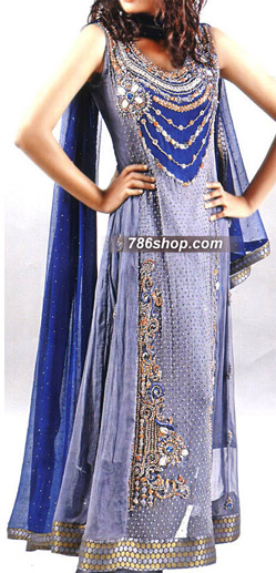 Blue Crinkle Chiffon Suit | Pakistani Party and Designer Dresses in USA