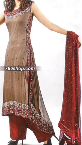 Fawn/Red Crinkle Chiffon Suit | Pakistani Party and Designer Dresses