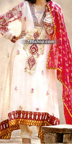 Off-White/Red Crinkle Chiffon Suit  | Pakistani Party and Designer Dresses in USA