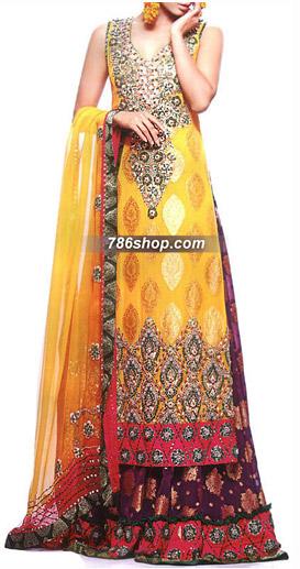 Yellow/Purple Chiffon Jamawar Suit | Pakistani Wedding Dresses in USA
