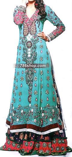 Turquoise/Purple Crinkle Chiffon Suit    Pakistani Party and Designer Dresses