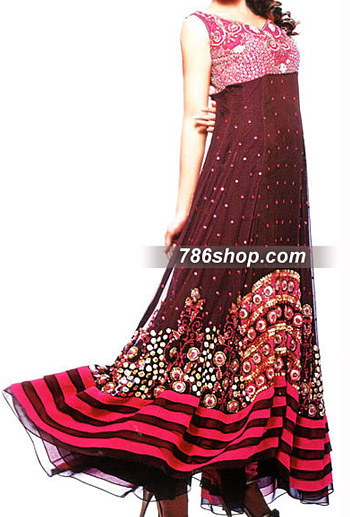 Maroon Crinkle Chiffon Suit  | Pakistani Party and Designer Dresses in USA