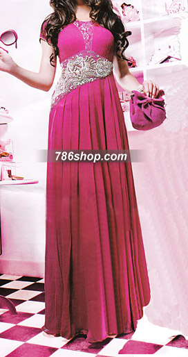 Hot Pink Crinkle Chiffon Suit | Pakistani Party and Designer Dresses in USA