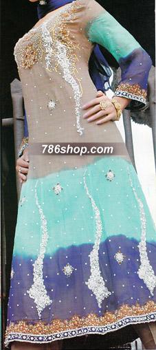Purple/Sky Blue/Beige Chiffon Suit | Pakistani Party and Designer Dresses