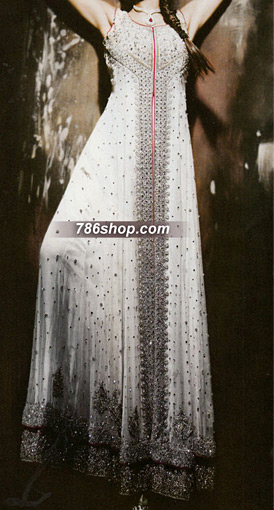 White Crinkle Chiffon Suit | Pakistani Party and Designer Dresses in USA
