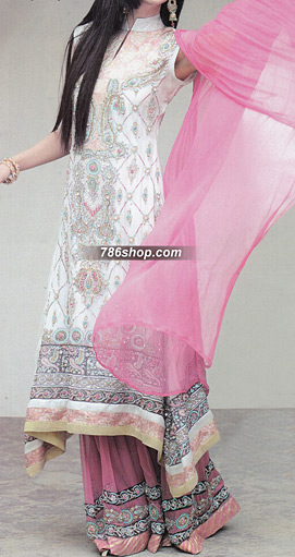 White/Pink Crinkle Chiffon Suit  | Pakistani Party and Designer Dresses in USA
