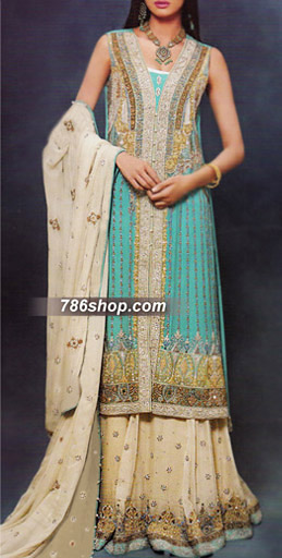 Turquoise/Cream Crinkle Chiffon Suit  | Pakistani Party and Designer Dresses in USA