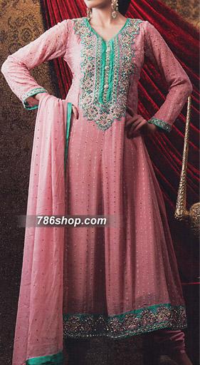 Tea Pink Jamawar Chiffon Suit    Pakistani Party and Designer Dresses in USA