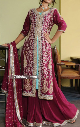 Magenta Crinkle Chiffon Suit  | Pakistani Wedding Dresses in USA