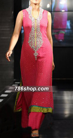 Hot Pink Crinkle Chiffon Suit    Pakistani Party and Designer Dresses in USA