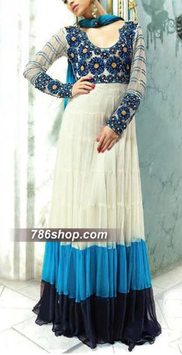 White/Blue Crinkle Chiffon Suit    Pakistani Party and Designer Dresses