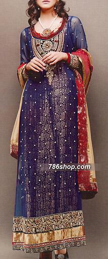 Blue Chiffon Suit | Pakistani Party and Designer Dresses