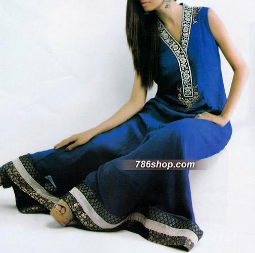 Royal Blue Crinkle Chiffon Suit | Pakistani Party and Designer Dresses