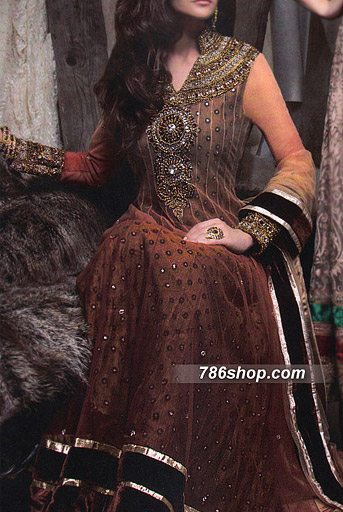 Brown Chiffon Suit    Pakistani Party and Designer Dresses in USA