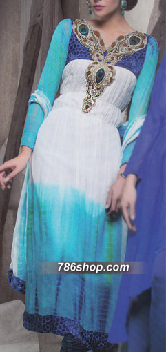 White/Turquoise Crinkle Chiffon Suit   Pakistani Party and Designer Dresses in USA