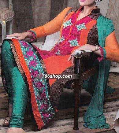 Orange/Sea Green Chiffon Suit   Pakistani Party and Designer Dresses in USA