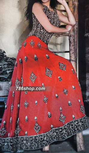 Red/Black Crinkle Chiffon Suit | Pakistani Party and Designer Dresses in USA