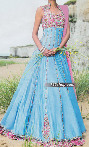 Sky Blue Crinkle Chiffon Suit | Pakistani Party and Designer Dresses in USA