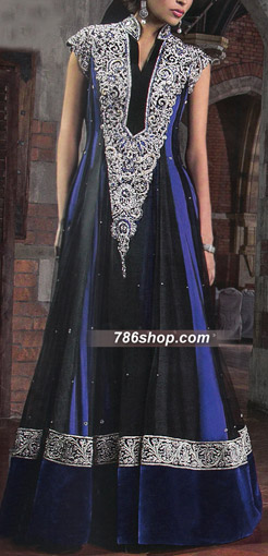 Black/Blue Crinkle Chiffon Suit | Pakistani Party and Designer Dresses in USA
