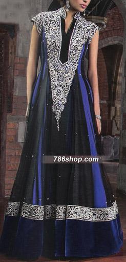 Black/Blue Crinkle Chiffon Suit | Pakistani Party and Designer Dresses
