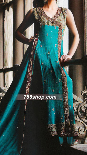 Blue Crinkle Chiffon Suit | Pakistani Party and Designer Dresses