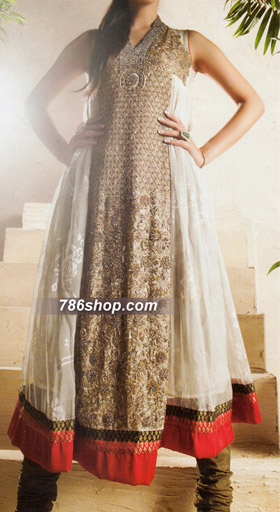 Off-White Crinkle Chiffon Suit | Pakistani Party and Designer Dresses in USA