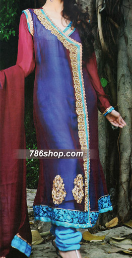 Blue/Red Crinkle Chiffon Suit | Pakistani Party and Designer Dresses