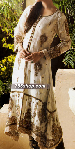 Off-White Crinkle Chiffon Suit   Pakistani Party and Designer Dresses in USA