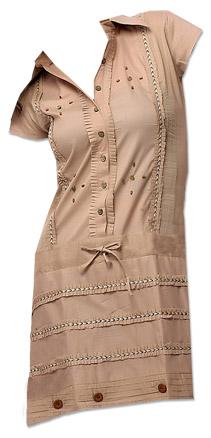 Beige Cotton Kurti | Pakistani Dresses in USA