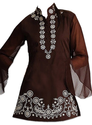 Dark Brown Georgette Kurti   Pakistani Dresses in USA