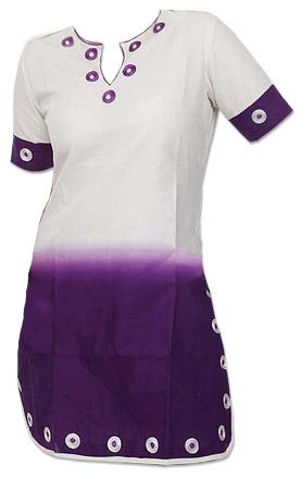 White/Purple Cotton Kurti   Pakistani Dresses in USA
