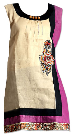 Cream Cotton Kurti   Pakistani Dresses in USA