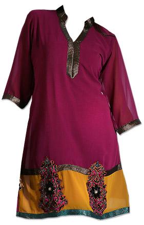 Magenta Chiffon Kurti  | Pakistani Dresses in USA