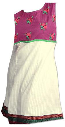 Off-White Cotton Kurti | Pakistani Dresses in USA