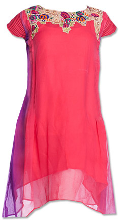 Pink Chiffon Kurti    Pakistani Dresses in USA