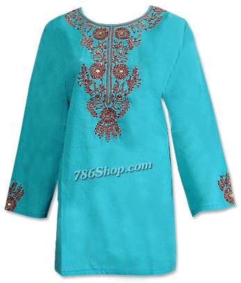 Sea Green Khaddi Cotton Kurti | Pakistani Dresses in USA