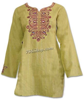 Lime Green Khaddi Cotton Kurti | Pakistani Dresses in USA