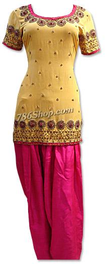Mustard/Hot Pink Grip Suit | Pakistani Dresses in USA