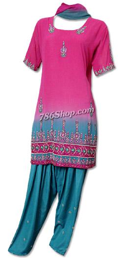 Magenta/Turquoise Chiffon Suit   Pakistani Dresses in USA