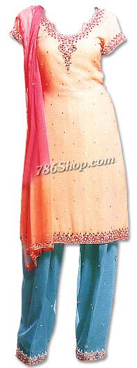 Peach/Turquoise Chiffon Suit  | Pakistani Dresses in USA