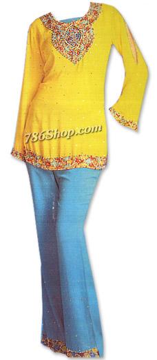 Yellow/Turquoise Chiffon Trouser Suit | Pakistani Dresses in USA