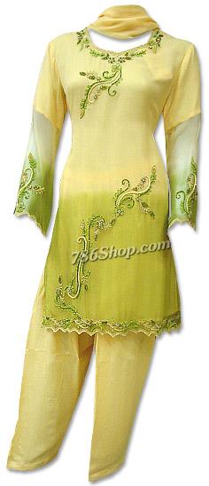 Yellow/Green Chiffon Suit | Pakistani Dresses in USA