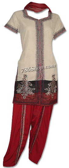 Beige/Maroon Georgette Suit | Pakistani Dresses in USA