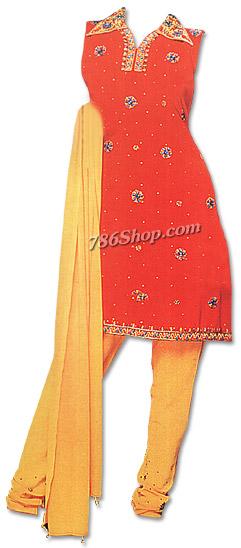 Orange/Yellow Chiffon Suit | Pakistani Dresses in USA