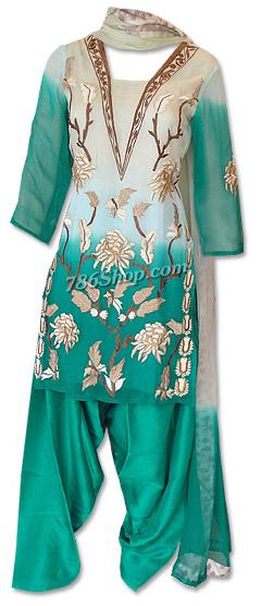 Green Crinkle Chiffon Suit | Pakistani Dresses in USA